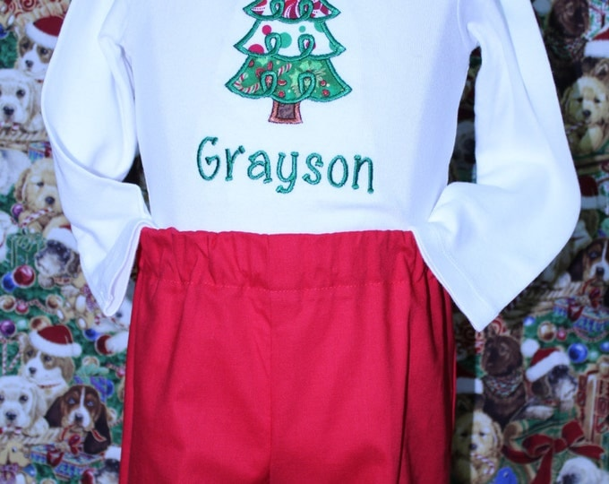 Boys Personalized Christmas Tree shirt,Baby boy Christmas outfit, Red Christmas long pants, Christmas tree applique, Sibling match set