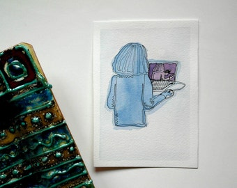 watercolor illustration, blue, 10x15cm
