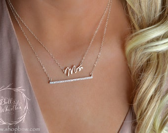 Mrs Necklace, Just married, bride to be, Sterling Silver, Delicate Necklace, Silver Necklace, new bride gift, engagement gift