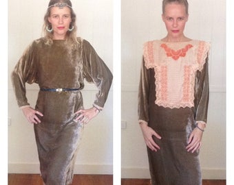 Vintage 80s Velvet Shift Dress Shiny Bronze//Pink Salmon Victorian English Full Lace Collar Bib Mod 20s Flapper Style Batwing Size S-M Vtg