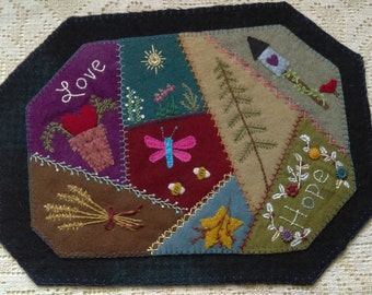 Wool Table Mat, Primitive, Home Decor, Table Mat