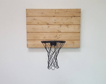 Rustic Wood Basketball Hoop. Reclaimed Wood Basketball Backboard and Rim Wall Mount