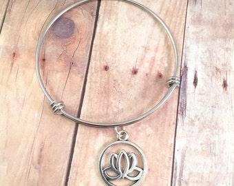 Yoga bangle, Yoga Lotus charm bangle, Yoga charm bracelet, stainless steel bracelet, for her