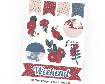 Berry Blossoms Weekend Banners & Decorative Planner Stickers - For use in fall Erin Condren, Happy Planner, Plum Paper, Kikki K, Calendar