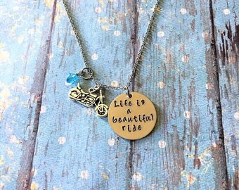 Motorcycle Necklace - Life is a beautiful  Ride - Motorcycle Gifts - Biker Jewelry - Motorcycle Jewelry - Motorcycle - Biker Necklace