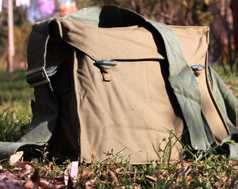 Military Bag - Canvas Messenger Bag - Vintage Crossbody Bag - School Bag - 1980's Green Cotton Bag - Vintage Army Bag - Shoulder Bag