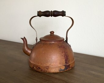 Vintage Copper Teapot; Tagus Teapot; Tea Kettle; Wood Handle; Vintage Teapot; Farmhouse Decor; Rustic Kitchen Decor; Succulent Planter