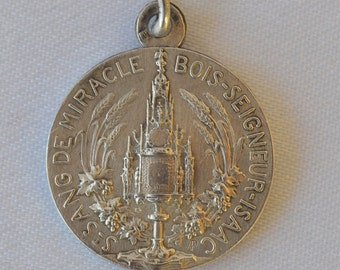 Saint Blood Of Miracle Medal -French Religious Medal Pendant Charm - Holy Miraculous Cross Reliquary -  Jesus Crown of Thorn Reliqary