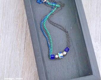 Blue 5-Bead Necklace | Multi-Strand Design | Bead Necklace