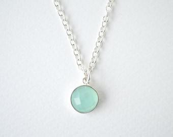 Dainty Aqua Chalcedony silver necklace,Round Chalcedony Necklace Sea green chalcedony Necklace Dainty silver necklace 10mm chalcedony pastel