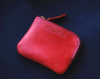 Red Leather Zip Wallet Zipper Wallet Mens Zipper Wallet Leather Zipper Wallet Leather Zip Pouch