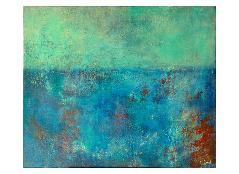 Original pintura paisaje marino abstracto azul turquesa blanco - Pintura azul turquesa ...