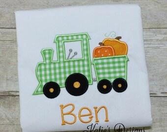 Fall Applique Shirt, Boy's Fall Shirt, Train Applique, Pumpkin Shirt, Train Shirt, Boy's, Personalized, Pumpkin Train Applique