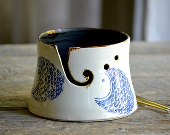 Ceramic yarn bowl with blue fish scale