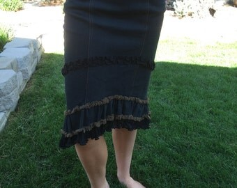 Black Denim, Pencil Skirt with Stretchable Material, Brown Ruffles, Western or Bohemian - Size Medium