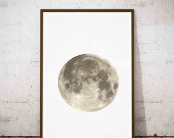Full Moon, Moon Phase, Moon Art, La Lune Print, Crescent Moon, Large Minimalist Art, Large Modern Print, Moon Poster, Lunar Phases Print