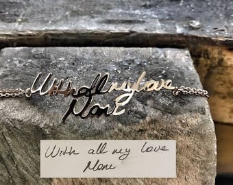 Handwriting Bracelet • Custom Actual Handwriting Jewelry • Signature Bracelet • Memorial Personalized Keepsake Gift • Mother's Gift • CC1