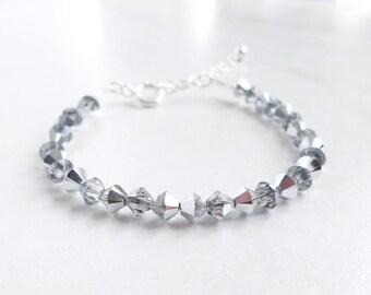 Bracelet jewelry with small gray crystals Swarovski Crystal beads transparent silver rhinestone solid diamond classic bracelet