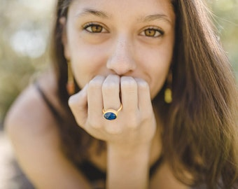 Lapis Lazuli gold ring, blue ring, Lapis lazuli jewelry, blue gemstone ring, gift under 40, blue jewelry, gold ring with lapis lazuli