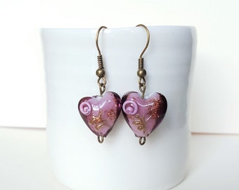 Purple Heart Drop Earrings on Bronze Plated Hooks, Purple Earrings, Lampwork Earrings, Purple Earrings, Bronze Earrings