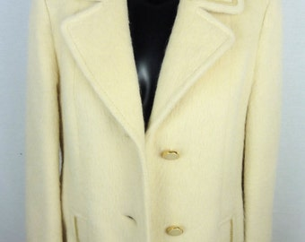 Coat vintage hair of camel - white - off white - size 38 (size M) - 70s