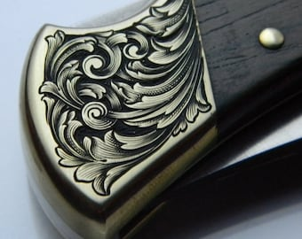 Hand Engraved Carved Buck 110 Folding Hunter Pocket Knife (With Personalization Option!)