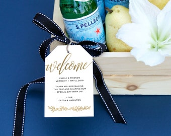 Welcome Wedding Tag, Rustic Wedding, Wedding Favor, Wedding Thank You, Wedding Printable, Thank You Printable, Gold Lettering | No. 5242