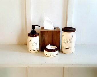 Rustic Mason Jar Bathroom Set. 4 Piece. Wood Tissue Box Cover.Distressed  Wood