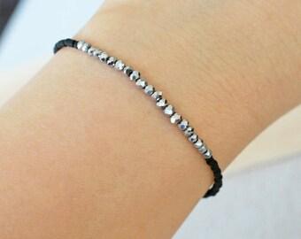 bead bracelet, silver and black bead bracelet, stretchy bracelet, trendy bead bracelet, small bead bracelet, layering bracelet, sparkly bead