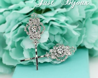 Wedding Hair Pin set of 2 Rhinestone Bobby Pin Wedding Accessory Wedding hair Pin Bridal Pin Wedding Jewelry Bridesmaid Gifts Flower Pin Ece