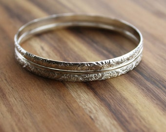Silver Bangle - Sterling Silver - Stacking Jewellery Set - Bangle Bracelet - Pattern Wire Bracelet - 25th Anniversary - Gift for Women