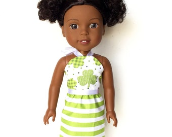 Halter Dress, Saint Patrick's Day, Shamrocks, Green, White, 14.5, Fits dolls such as American Gir Wellie Wishers Doll Clothes