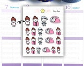 Mimi Prepare to Sleep Planner Stickers | MiMi The Girl Hand Drawn Planner Stickers for use with Personal, ECLP TM, A5 Planner Planner