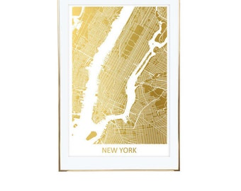 New York City Map Gold Foil Print- Real Gold Foil, Gold Foil Printing, Foil Print, Gold Foil Maps, Foil Maps. Gold Foil Map Of the World