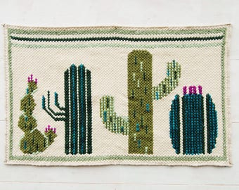 Cactus Rug, Succulent rug, Area Cacti rug, Hand woven rug, Cactus home decor, Floor runner, Succulent tapestry, Greenery decor, Greenery rug