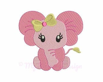 Mini Elephant Machine Embroidery Design - Baby Girl Fill Stitch Embroidery - INSTANT DOWNLOAD - pes hus jef vip vp3 xxx dst exp - 6 sizes