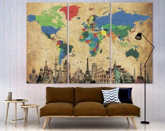 Custom Quote World Map Push Pin Canvas Print World Map Wall Art World Map Home Decoration