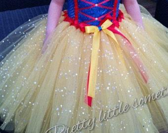 Blue and yellow snow white princess inspired tutu dress