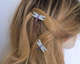 Dragonfly Hair picks, Dragonfly bobby pins, hair pins Set of 2, Blue and Purple