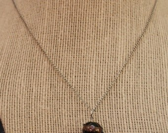 up-cycled silver and green bead and tassle necklace