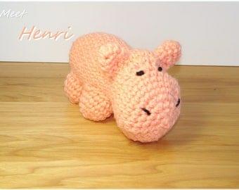 Peach Crochet Hippo, Amigurumi Hippo, Stuffed Hippopotamus, Plush Hippo, Baby Toy, Hippo Stuffed Animal, Nursery Decor, Crochet Amigurumi