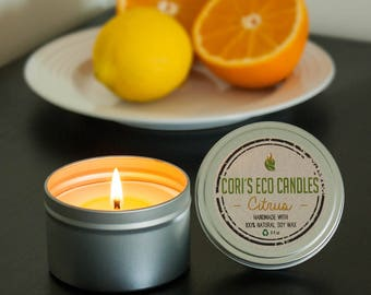 Citrus handmade soy candle - Tins soy candles -Soy Candles -Natural soy candles - soy scented candles - Candles - soy candles handmade