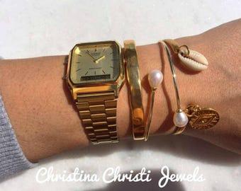 Bangle Bracelet, Gold Filled Bangle Bracelet, Pearl Bangle Bracelet, Handmade Bangle Bracelets Set, Women's Jewlery, Made in Greece.
