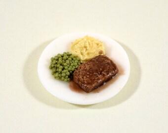 Miniature Meatloaf Dinner Plate - Loaf, Peas, Mashed Potatoes - Miniature Dollhouse Food - 1:12 Scale