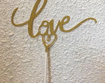 LOVE gold glitter cake topper