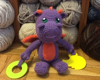 Deni Dragon Crochet Activity Toy, Crochet Dragon, Teething Toy, Rattle, Baby Toy, Cuddly Toy, Amigurumi