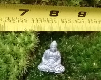 1 Miniature lucky silver  Meditating Buddha  for fairy garden / succulent / terrarium / mini garden