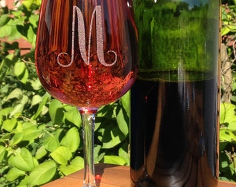 Stemmed Wine Glass-Monogram-Engraved-Personalized-A-Z letters