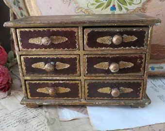 Vintage 6 Drawer Italian Gold Florentine Jewelry Box Storage-Maroon- Made in Italy