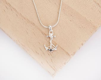 Mariko Anchor Pendant, Sterling Silver, Ship Anchor, Nautical Jewellery, Anchor Necklace, Anchor Jewelry, I Will Not Sink, Anchor with Rope